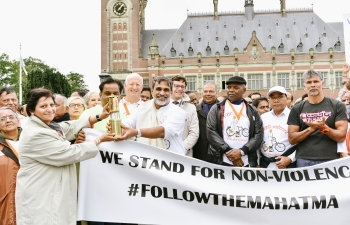 Largest Gandhi March in the Netherlands celebrating International Day of Non violence.
