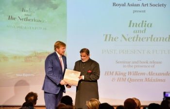 The King of the Netherlands receives first copy of book on India and the Netherlands authored by Indian Ambassador Venu Rajamony