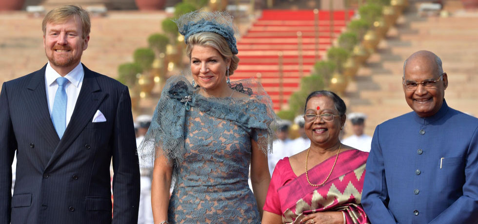 HM Willem-Alexander & HM Queen Maxima welcomed in the Rashtrapati Bhavan by President Ram Nath Kovind & Mrs. Kovind during their 5-day State Visit to India, October 14, 2019