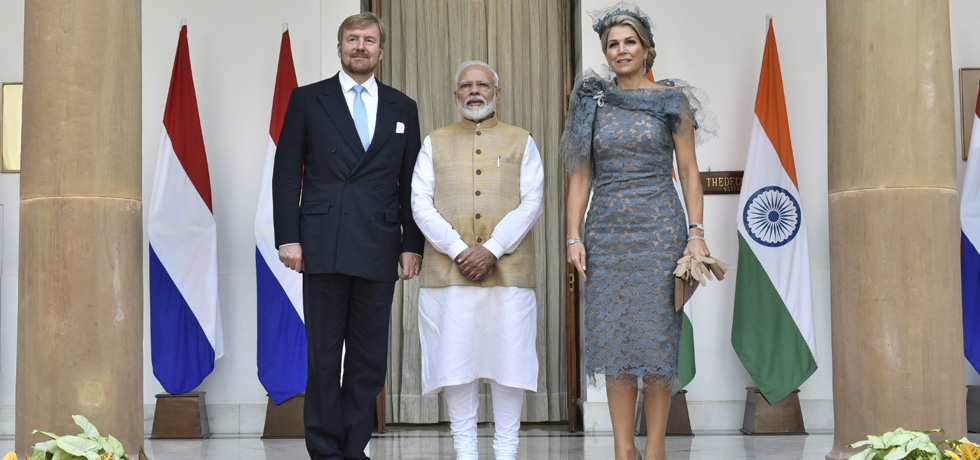HM Willem-Alexander & HM Queen Maxima with Prime Minister Modi during their 5-day State Visit to India, October 2019